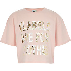 Kids pink Ditch the Label cropped T-shirt