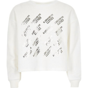 Kids white Ditch the Label crop sweatshirt