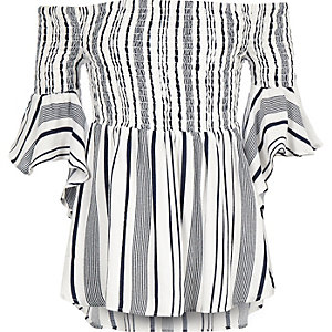 Girls blue stripe bardot flute sleeve top
