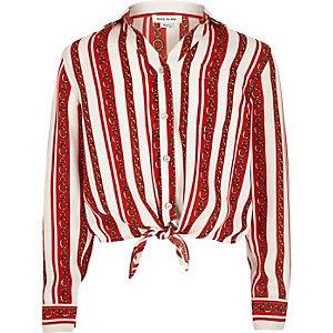 Chemise à rayures chaînes rouge nouée sur le devant pour fille