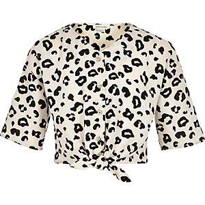 Girls cream leopard print tie front blouse