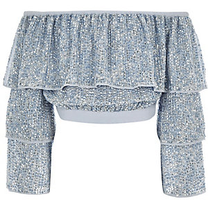 Girls blue sequin embellished bardot top