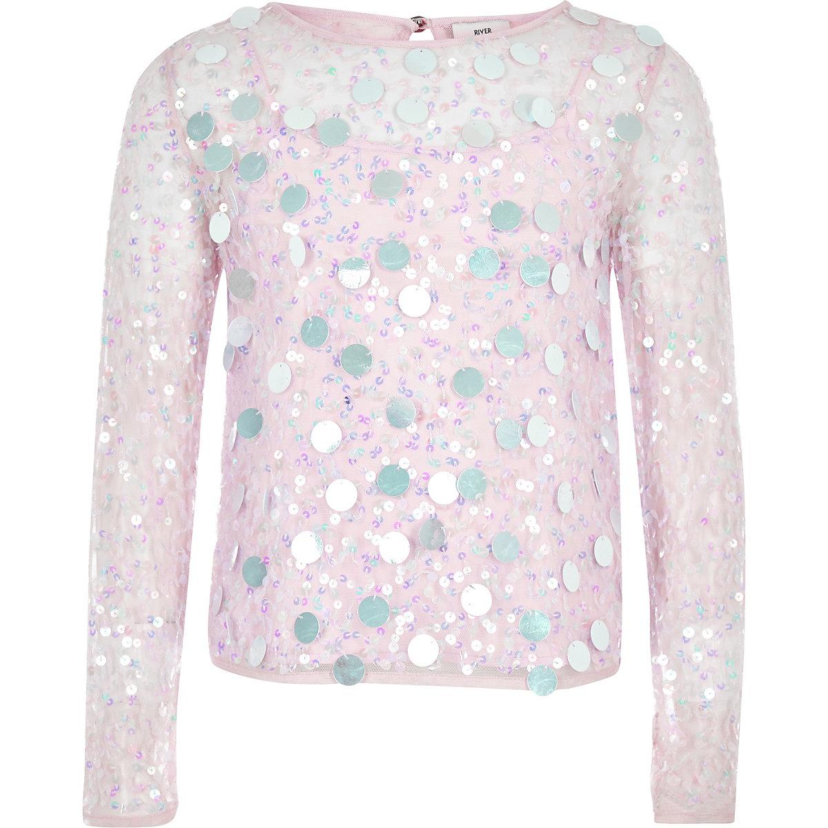 Girls purple sequin long sleeve top