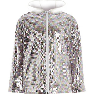 Girls silver sequin embellished rain mac