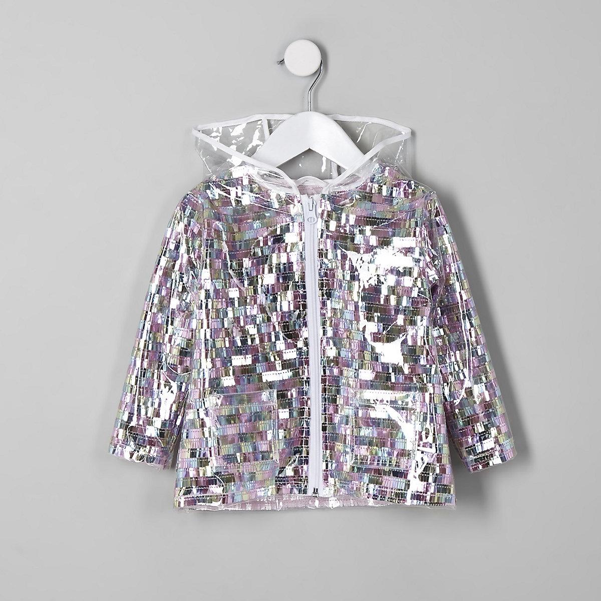 Mini girls multi sequin embellished rain mac