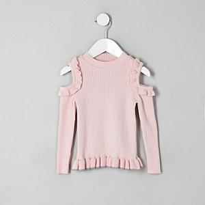 Roze schouderloze pullover met ruches voor mini-meisjes