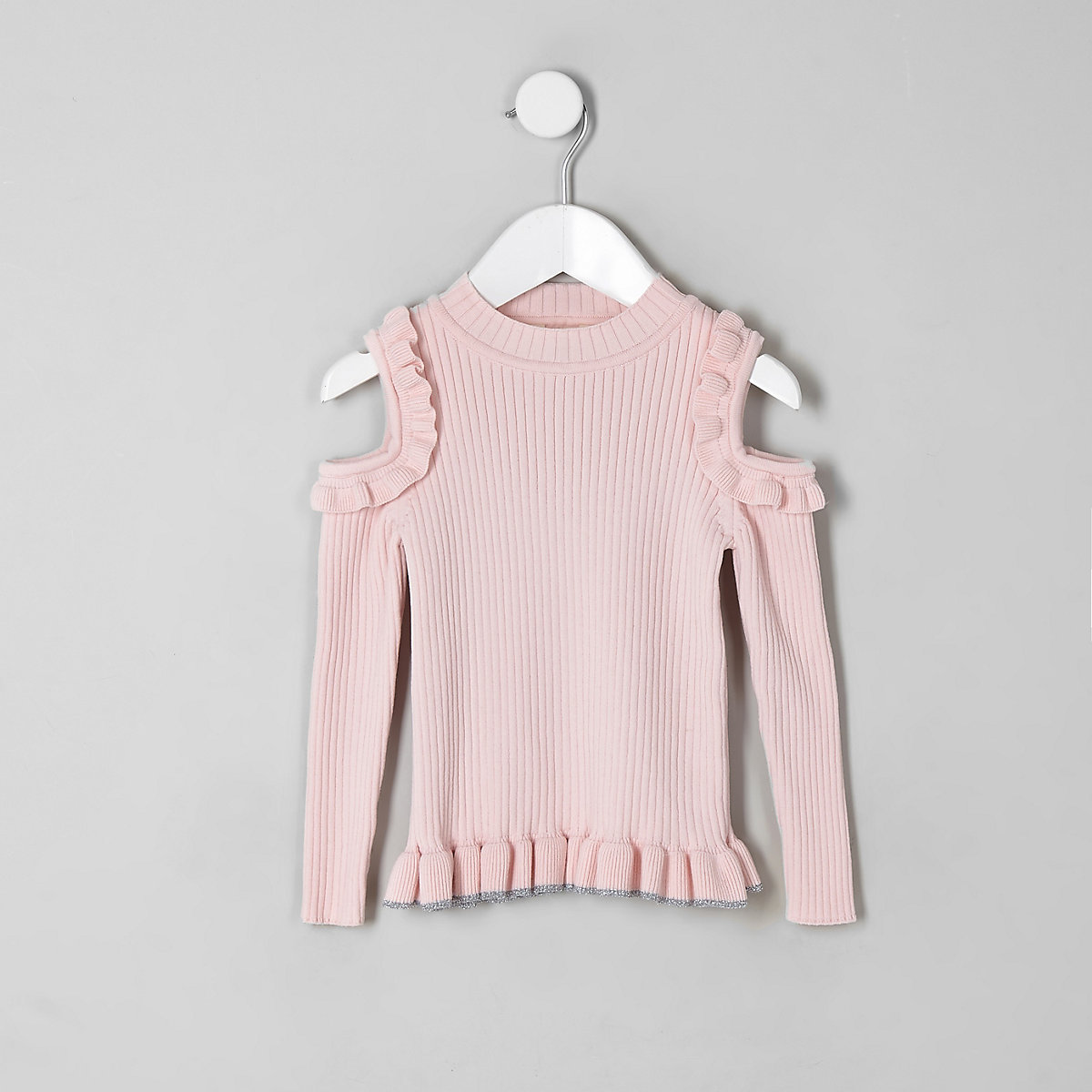 Mini girls pink cold shoulder frill jumper