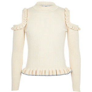 Girls cream cold shoulder frill sweater