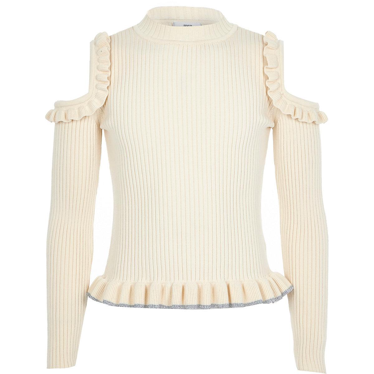 Girls cream cold shoulder frill sweater