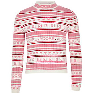 Girls pink RI 'Adore' knit jumper