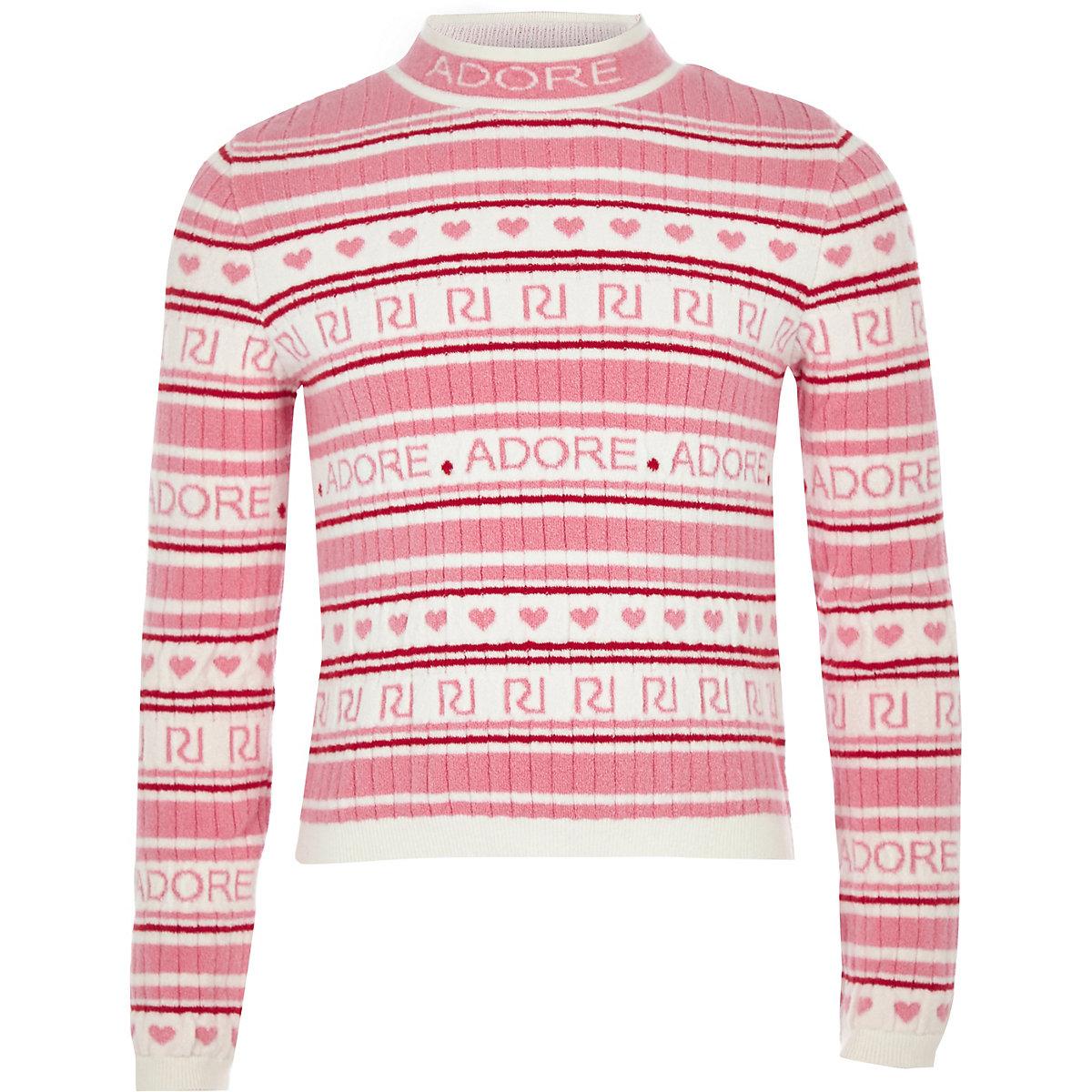 Girls pink RI 'Adore' knit sweater