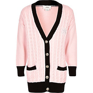 Girls pink cable knitted RI cardigan