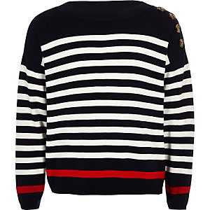 Girls navy stripe jumper