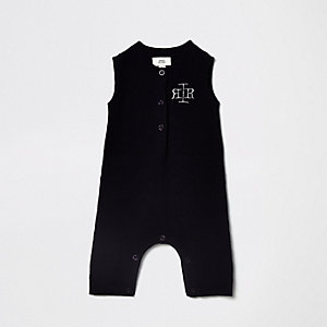 Marineblauw gebreid rompertjes met RI-logo voor baby's