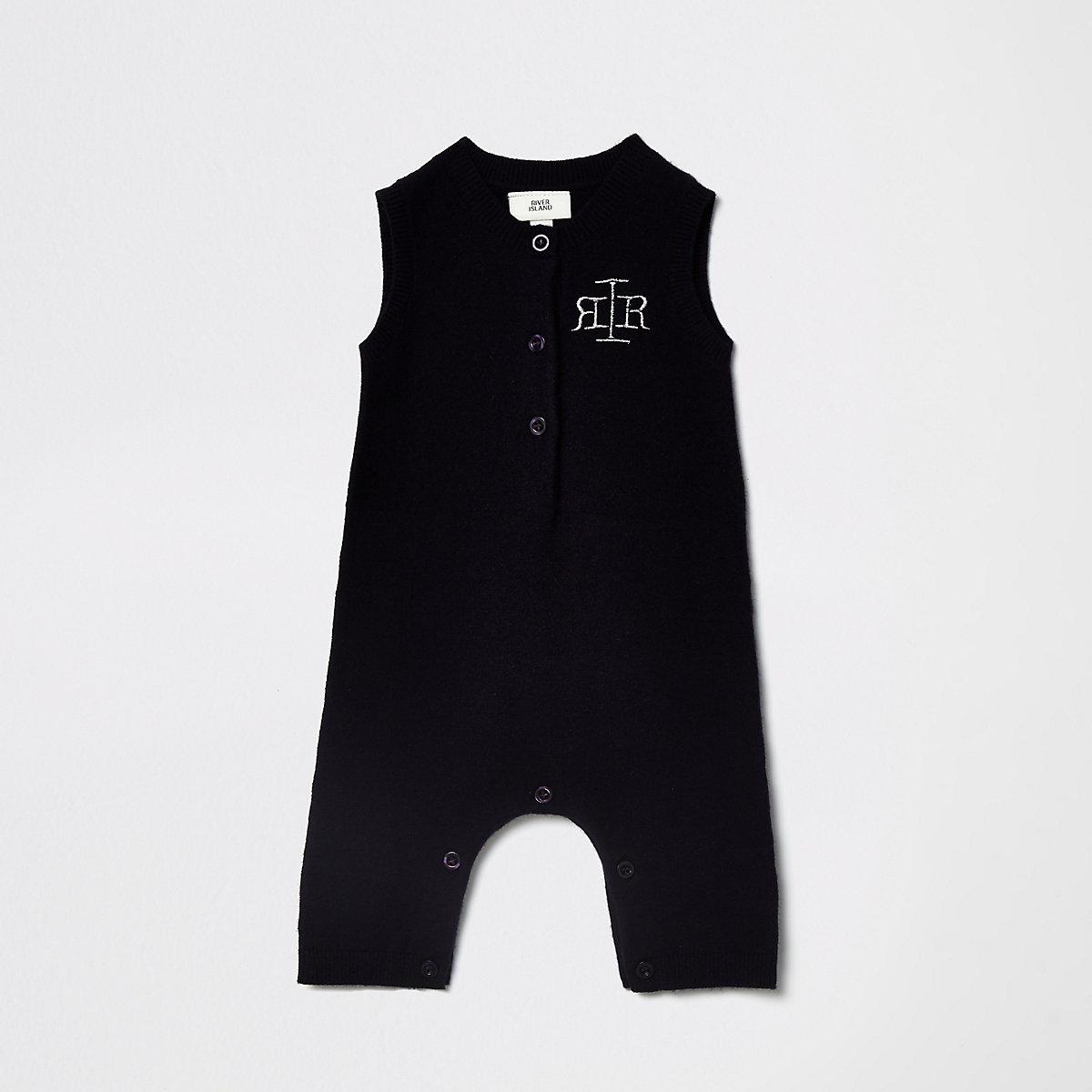 Baby navy knitted RI romper