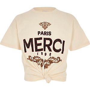 "T-Shirt in Creme ""Merci"""