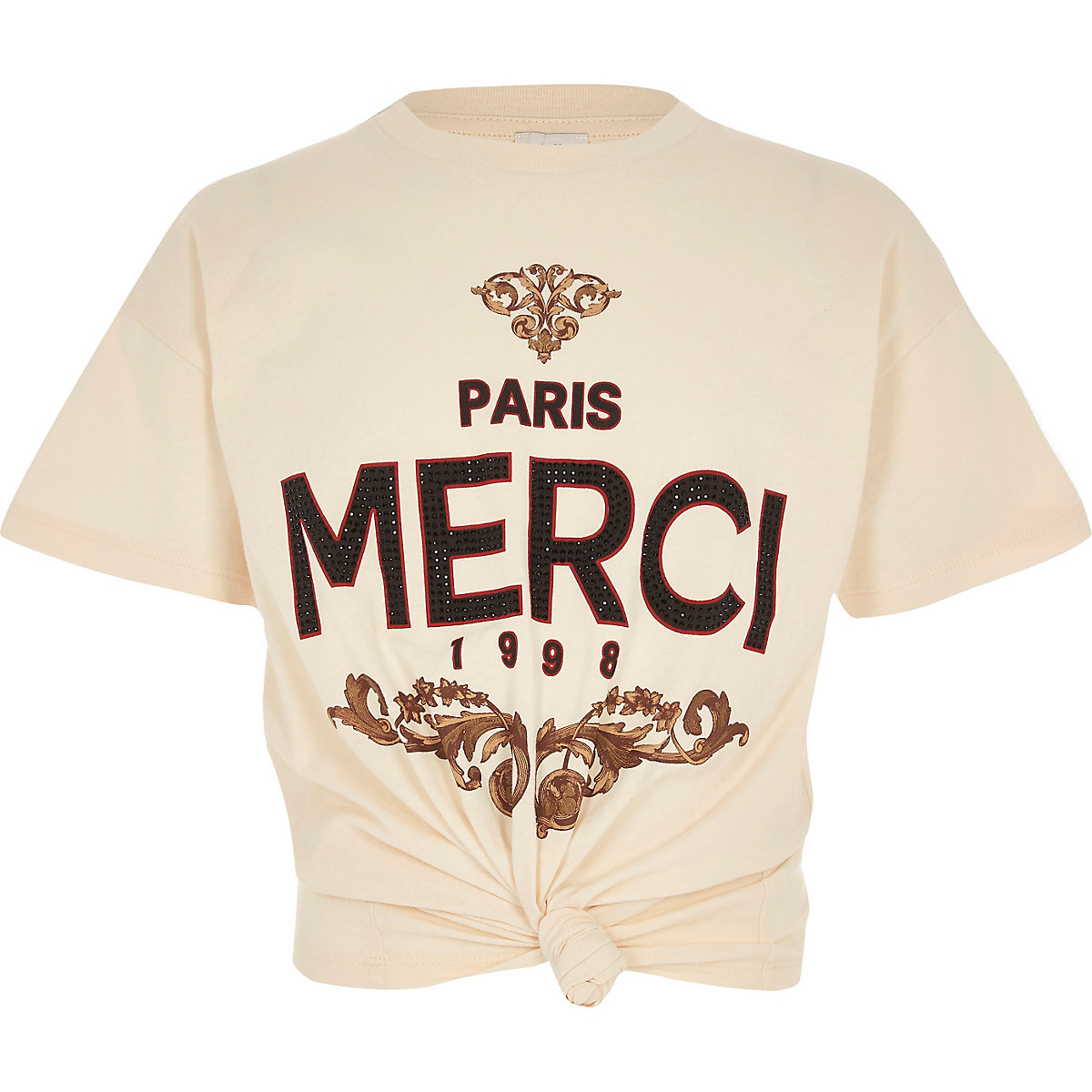 Girls cream 'Merci' knot front T-shirt