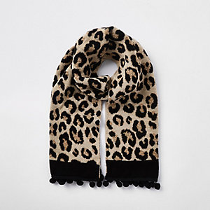 Girls brown leopard print pom pom scarf