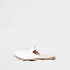 Girls white RI monogram backless loafers