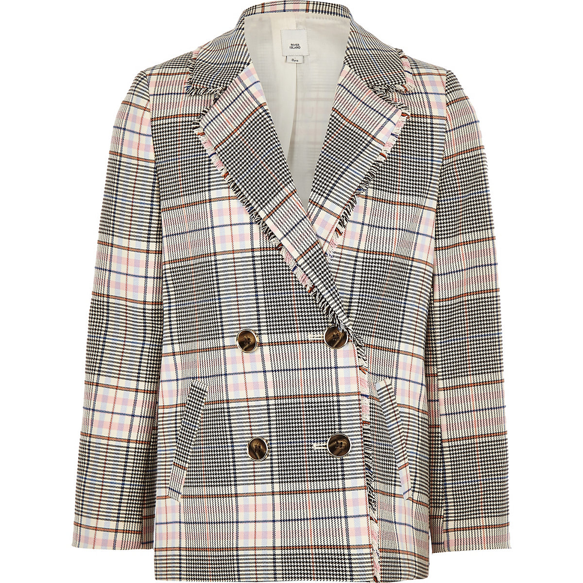 Girls cream check double breasted blazer