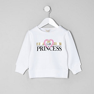 Mini girls white 'princess' sweatshirt