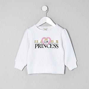 Mini - Wit sweatshirt met 'Princess'-print voor meisjes
