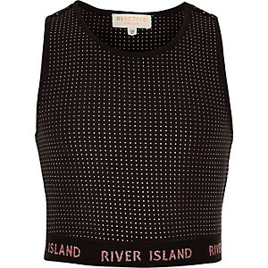 Girls RI Active black studded crop top