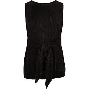 Girls black plisse tie waist top