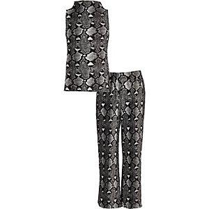 Ensemble pantalon et top noirs imprimé serpent pour fille