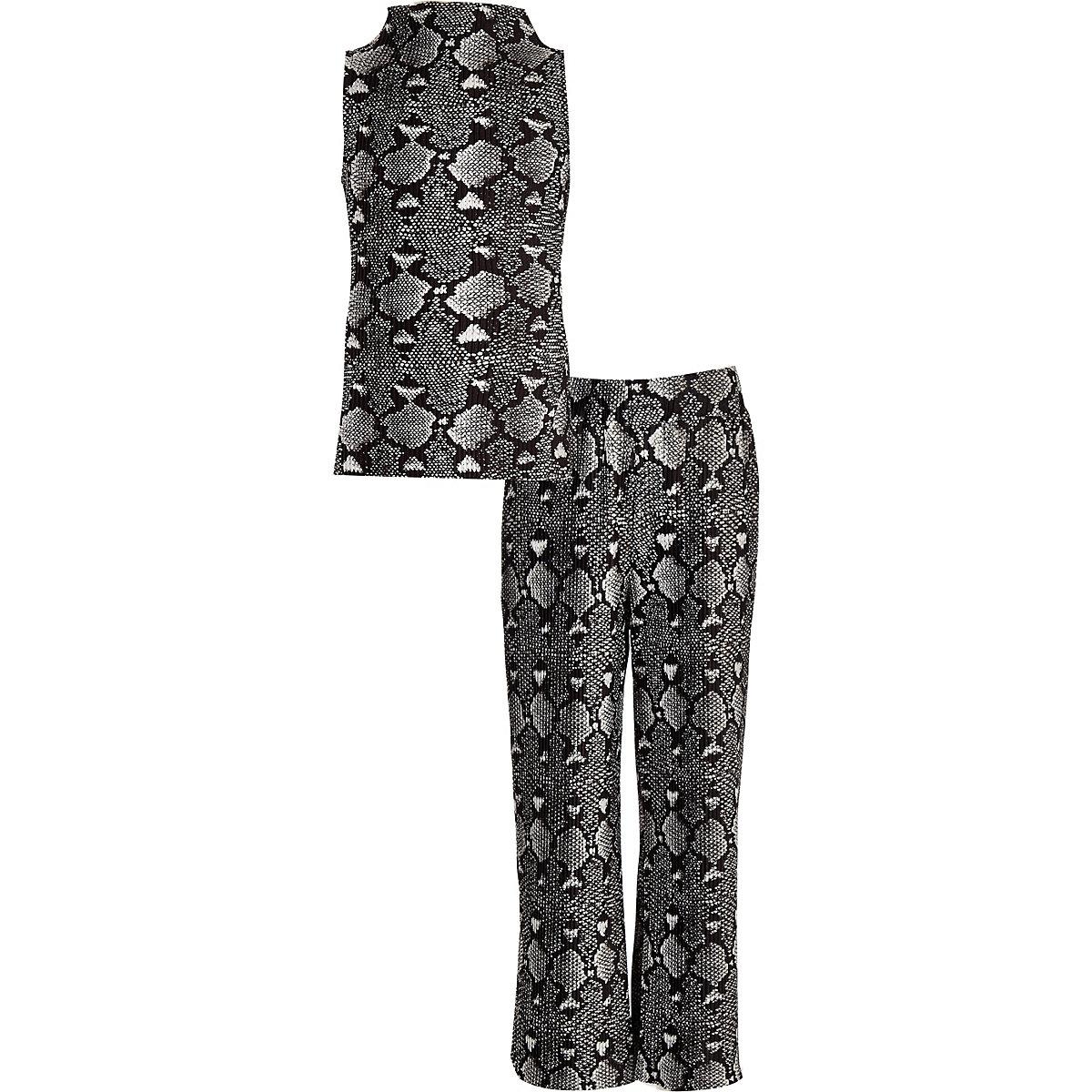 Girls black snake print top and pant set