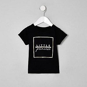 Mini girls black 'little princess' t-shirt