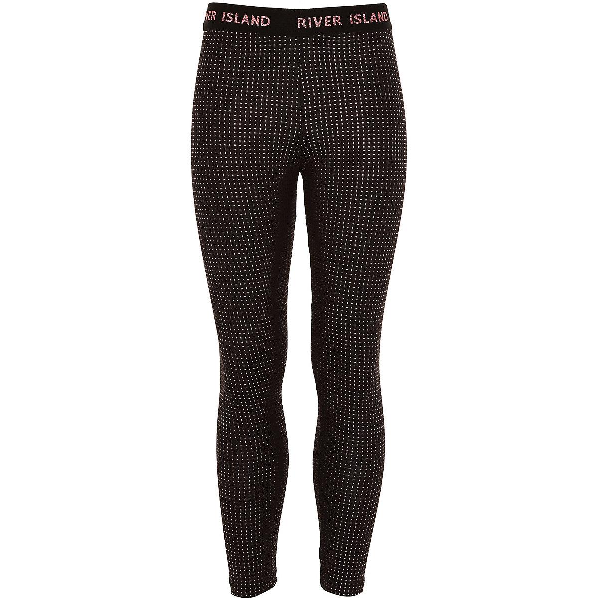 Girls RI Active black studded leggings