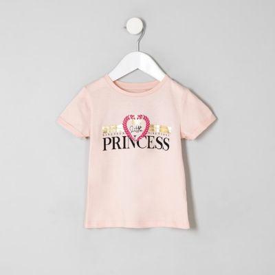 Mini Girls Pink 'Little Princess' T Shirt by River Island