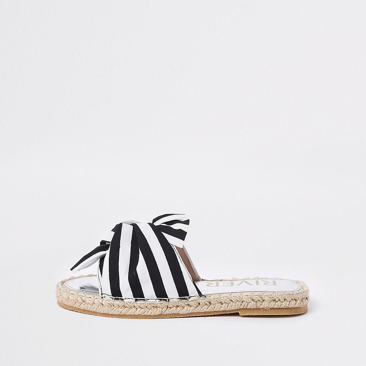Girls black stripe bow espadrille sandals