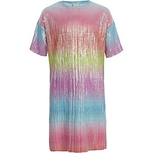 Girls pink rainbow plisse T-shirt dress