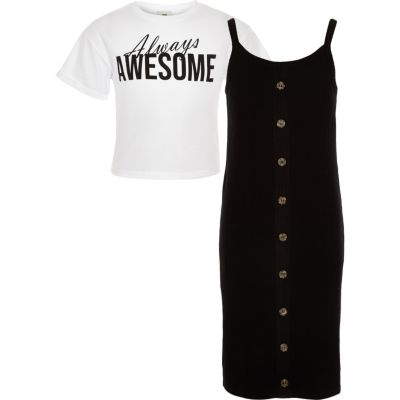 Girls Black 2 In 1 T Shirt Dress by River Island