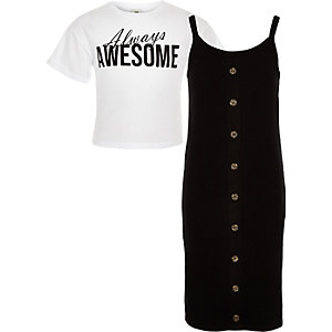 Girls black 2 in 1 T-shirt dress