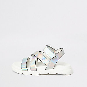 Girls silver holographic cross strap sandals