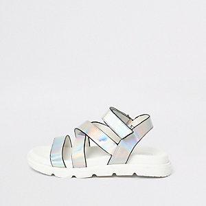 Zilverkleurig sandalen met holografische kruisbandjes voor meisjes
