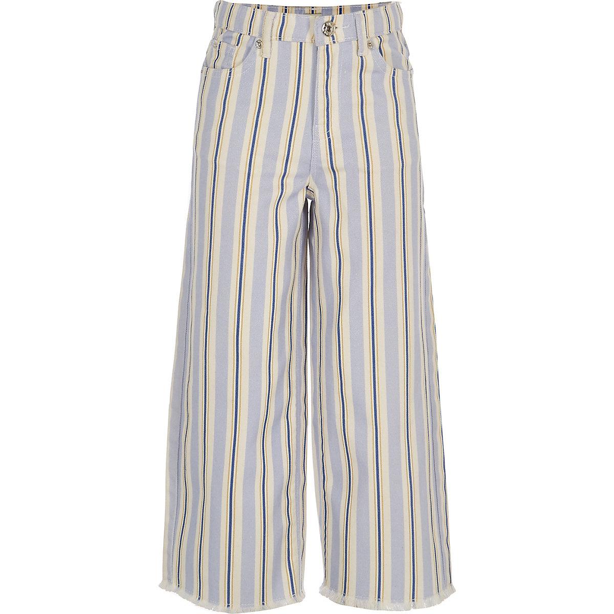 Girls blue stripe wide leg jeans