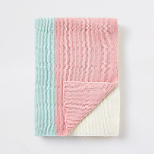 Couverture en maille colour block multicolore pour bébé