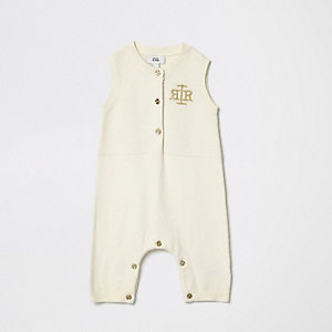 Barboteuse en maille crème sans manches à logo RI pour bébé