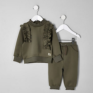 Mini girls khaki frill sweatshirt outfit