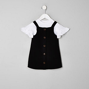 Mini girls black pinafore dress set