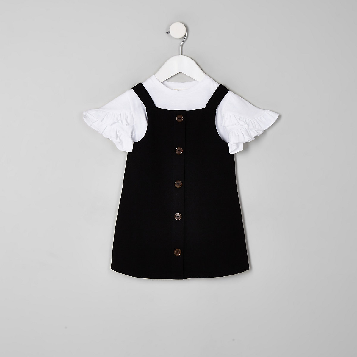 Mini girls black pinafore dress outfit
