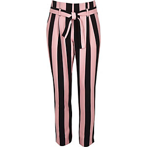 Girls pink stripe tapered pants