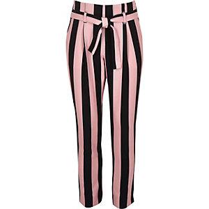 Roze gestreepte smaltoelopende broek voor meisjes