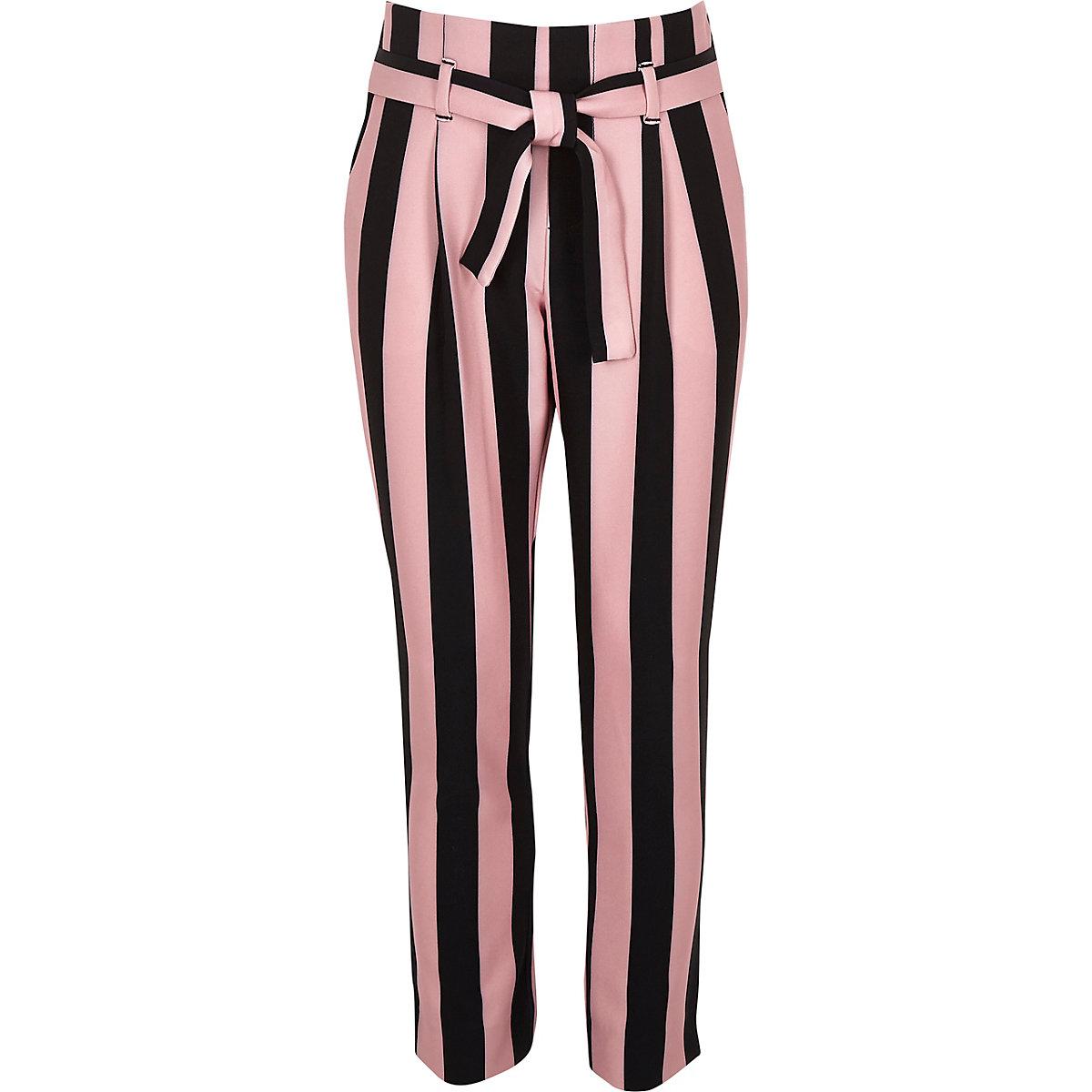 Girls pink stripe tapered pants