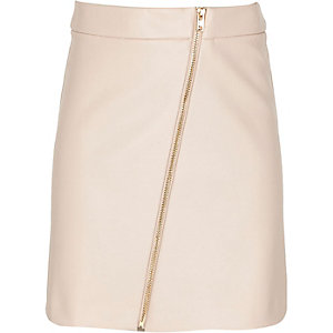 Girls pink asymmetric zip-up mini skirt