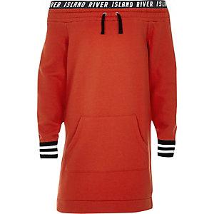 RI – Rotes Bardot-Pullover-Kleid